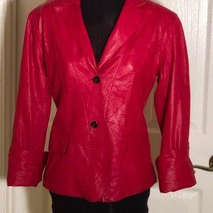 All Genuine Red Leather Blazer By Anne Klein